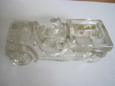 Vintage Clear Glass Jeep Candy Container  Millstein Co. Jeannette,pa