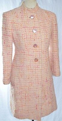 Vintage Pink Wool Boucle Dress Coat S Small 4-6