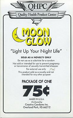 vtg condom machine decal sticker vending NOS Moon Glow 75 cents novelty