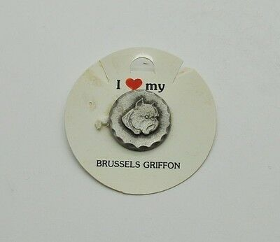 RAWCLIFFE Fine Pewter Dog I LOVE MY BRUSSELS GRIFFON Pin Puppy Jewelry