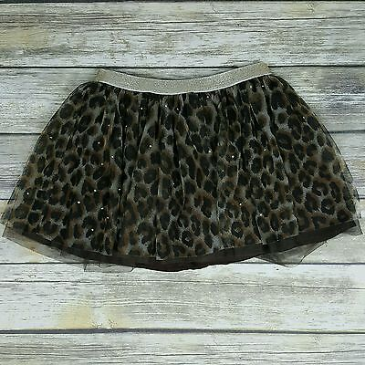 JUSTICE Girl's Size 10 Brown Cheetah Print Bling Tulle Skort
