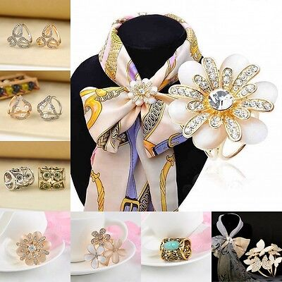 Women Chic Vintage Scarf Ring Scarf Buckle Scarf Clip Slide Buckle Jewelry Gift