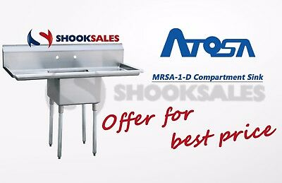 "Atosa MRSA-1-D Commercial  Restaurant Stainless Steel 18"" Compartment Sink NSF"