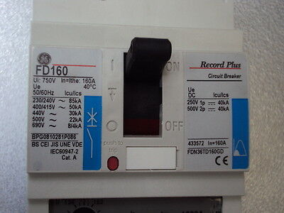 Circuit breaker MCCB (moulded case) 160A  FDN36TD160GD   GE Record Plus  FD160