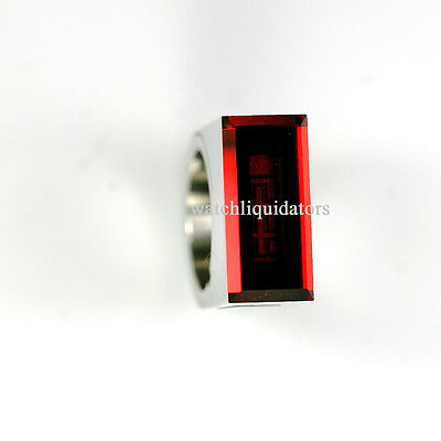 PHILIPPE STARCK by FOSSIL STAINLESS STEEL EASY READ RED LADY RING WATCH SIZE 6