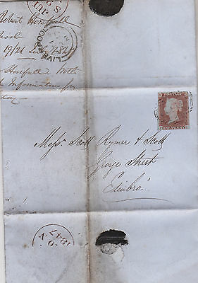 1847 QV LIVERPOOL WRAPPER WITH FINE 1d RED IMPERF STAMP MAILED TO EDINBURGH