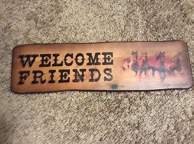 Welcome Friends Sign - Wood - Horses - 18 X 5 Inches