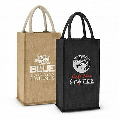 50 x Donato Jute Double Wine Carrier Bags Bulk Gifts Promotion Business Merch
