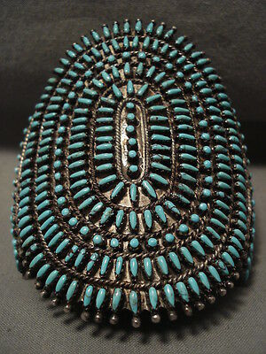 One Of The Most Intricate Ever Vintage Zuni Turquoise Silver Bracelet