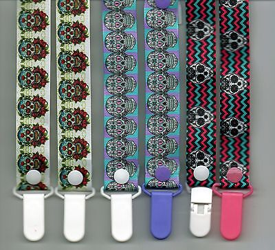 SUGAR SKULLS  Dummy Clips  / Dummy Clip / Pacifier Clips / Chain
