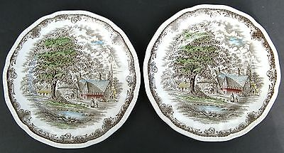"""Shakespeare's Sonnets Kensington (2) 8"""" Salad Plates Anne Hathaway's Cottage Eng"""