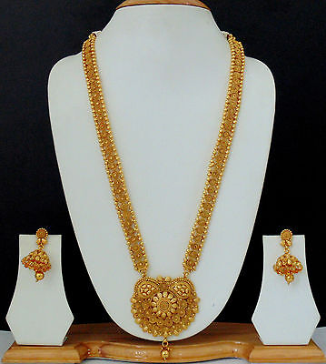 Ethnic Jewelry Long Necklace Earring Gold Plated Traditiona Bollywood Indian Set