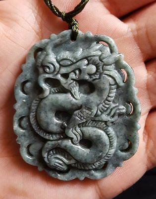 Chinese jade jadeite A grade men woman dragon carved pendant necklace