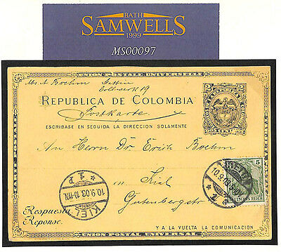 MS97 1903 COLOMBIA Stationery Cancelled *Stettin* UNUSUAL Germania Cover to Kiel