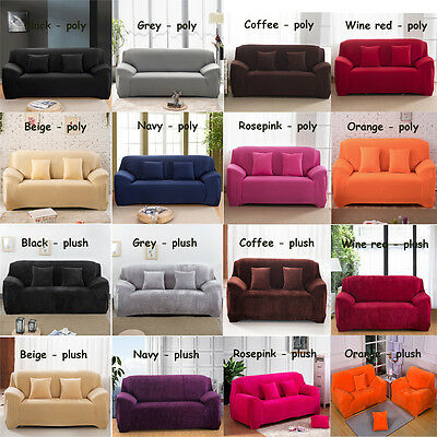 Solid Color Poly /  Plush 1 2 3 4 Seater Stretch Sofa Couch Slip Covers - AU