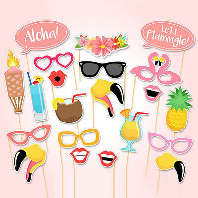 21X Flamingo Photo Booth Props Tropical Hawaiian Summer Hen Party Accessories BE