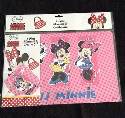 New Disney Minnie Mouse Placemat & Coaster Set - Table Mat - Wipe Down - Pink