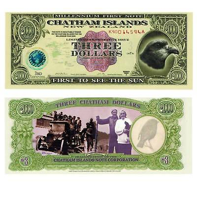 Chatham Islands 3 Dollars 1999 Unc. Polymer #