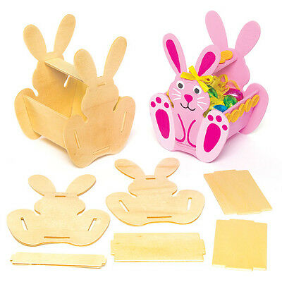 3 Easter Bunny Wooden Basket Kits for Children to Paint Kids Creative Craft Set