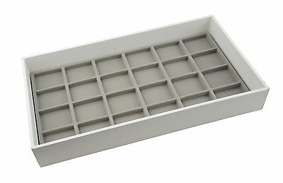 Large White 2 Inch Deep Wooden Display Tray with Choice of Grey Insert