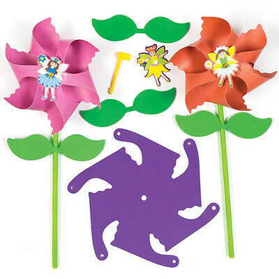 4 Fairy Windmill Kits for Children to Make - Creative Craft Toy Set for Kids