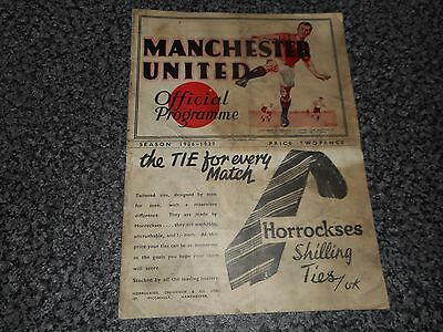 **MANCHESTER UNITED  v  DERBY COUNTY  1936/7 ~ JAN 2nd *PRE-WAR* VINTAGE SCARCE