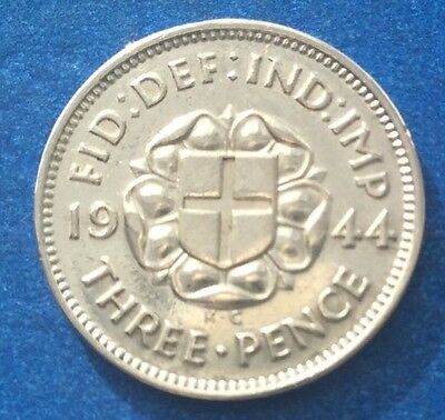 Very Rare 1944 King George Vi Silver Threepence Coin