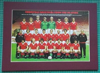 MANCHESTER UNITED SIGNED TEAM GROUP. 1979 x  21 GENUINE AUTOGRAPHS. MOUNTED RARE