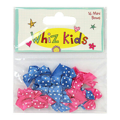 16 Blue & Pink Whiz Kids Mini Ribbon Bows Card Making Craft Embellishments
