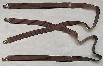 MENS VINTAGE BRACES SUSPENDERS 1960s 1970s ADJUSTABLE BURGUNDY SKINHEAD STRIPED