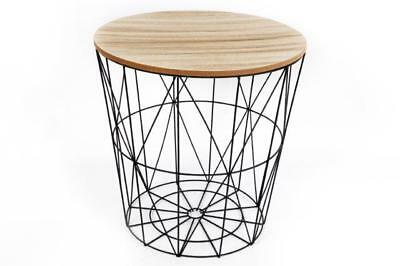 Round Modern Table Retro Black Metal & Wood Lamp Coffee End Side Storage Table