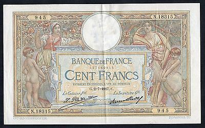 100 FRANCS LUC OLIVIER MERSON Type 1906 Grand Cartouches - 02/07/1927