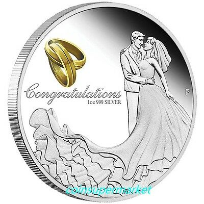 Australia 2017 Wedding 1oz Silver Proof Coin Crystal Embellishment Box Gift