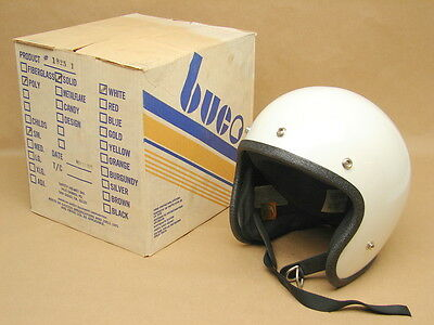 Vintage NOS NIB 1976 Buco Open Face White Motorcycle Helmet 5 Snap Small 1825-1