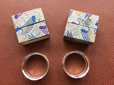 Pair Antique 1904 Solid Silver Scrolled Leafwork Napkin Rings with Org Boxes
