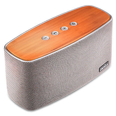 Bamboo Wood Home Bluetooth Stereo Super Bass Speaker Soundbox for Smartphone UK