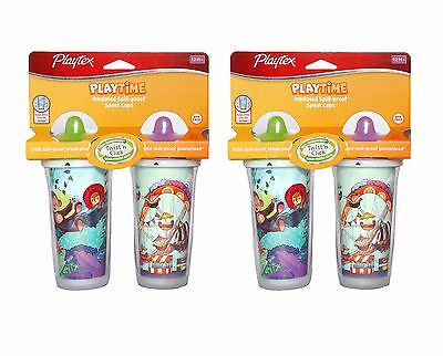 Playtex Playtime Insulated Spill Proof Spout Cup, 4 Cups Total-assorted designs