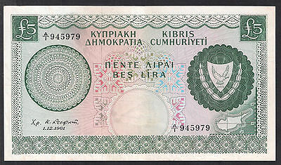 CYPRUS 1961 £5 FIVE POUNDS A series VF+ Condition World Money Currency Note