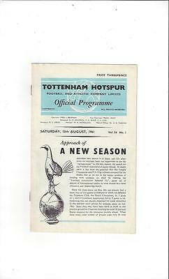 Tottenham Hotspur v FA Select X1 Charity Shield Football Programme 1961