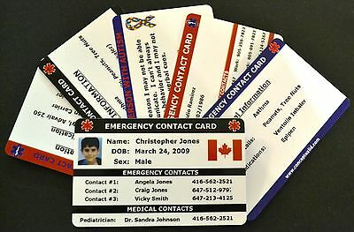 Custom Made ID Cards - Emergency Contact Cards - printed on White PVC Plastic