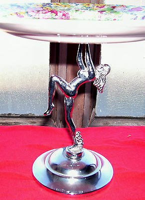 Stunning Vintage Art Deco Midwinter Cake Stand Metal Lady Deco Base