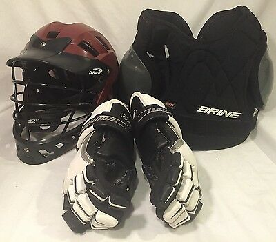 Youth Brine Warrior Lacrosse Gear Helmet Gloves Pads Medium
