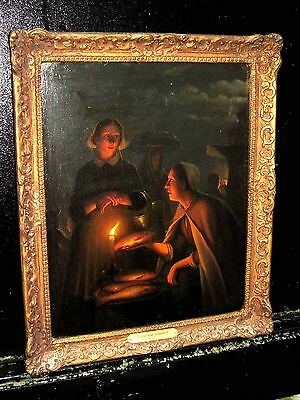 Attributed to Petrus Van Schendel ANTIQUE OLD MASTER OIL PAINTING on oak panel