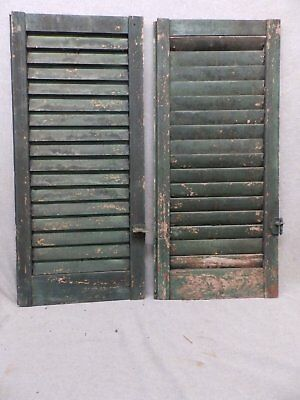 Two Antique  Shutters Window Wood Louvered Shabby Old Chic 34x15 80-17R