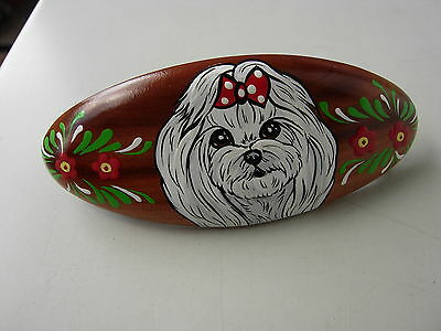 Maltese  Handpainted Barette Hair Clip -01