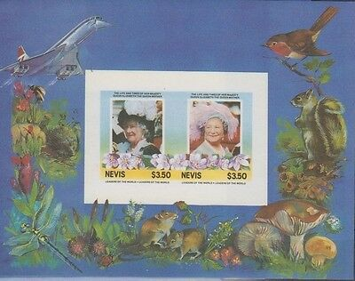 Nevis 432 Queen Mother birthday IMPERFORATE missing The 85th Birthday of *** Que