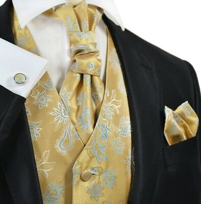 Paul Malone Gold and Blue Paisley Tuxedo Vest Set with Tie and Accessories