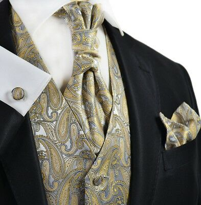 Paisley New Wheat and Grey Tuxedo Vest, Tie and Accessories by Paul Malone