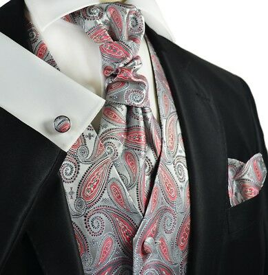 Silver and Cayenne Red Paisley Tuxedo Vest, Tie and Accessories by Paul Malone