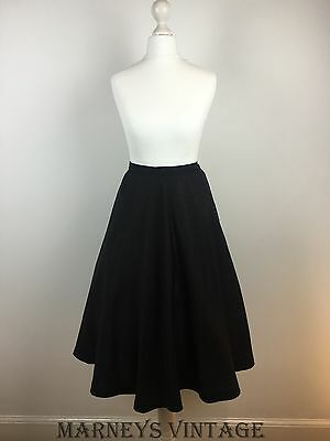 ORIGINAL VINTAGE 1940s Black A LINE SKIRT 30s 40s Swing WWII WARTIME XS W24""